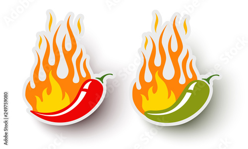 Foto Vector logos with chili pepper