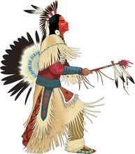 Native American Dancing Vector Illustration