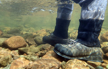 Fisherman's Wading Boots Viewed From Under Water