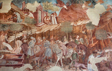 Huge Wall With Great 14th Century Fresco Triumph Of Death And Last Judgement
