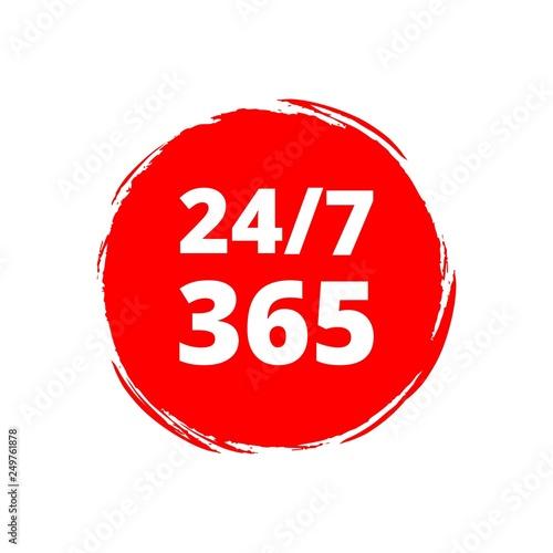 Fényképezés  Red Open 24/7 - 365, 24/7 365 icon or logo