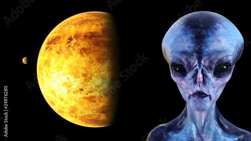 Illustration of the profile of a blue alien with black eyes and a planet and small moon in space in the background.