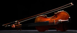 retro violin on a black background
