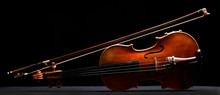 Retro Violin On A Black Background