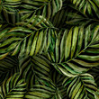 tropical pattern, green palm, watercolor leaves