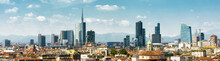 Panoramic View Of Milan, Italy. Skyline Of Milano City In Summer.