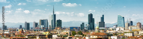 Poster Milan Panoramic view of Milan in summer from above, Italy