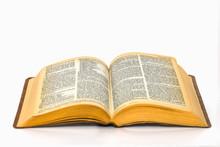 Open Bible On Plain White Back...