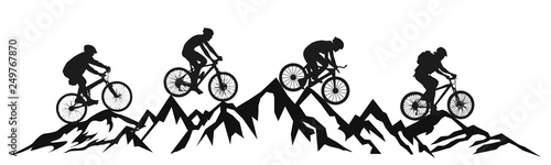 Obraz Group cyclist in the mountains – vector - fototapety do salonu