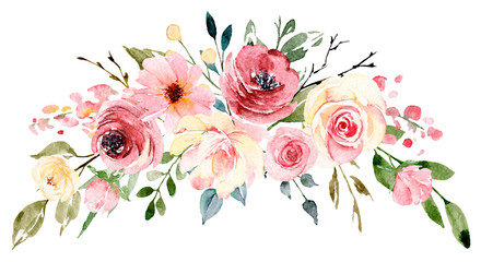 Fototapeta Róże Watercolor flowers, floral bouquet for greeting card, invitation and other printing design. Isolated on white. Hand drawing.