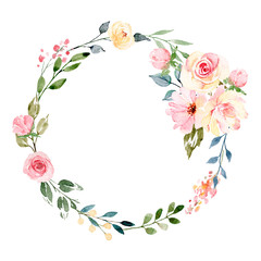 Naklejka Róże Wreath with watercolor flowers, floral frame for greeting card, invitation and other printing design. Isolated on white. Hand drawing.