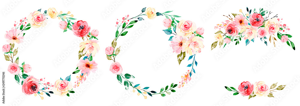 Fototapeta Wreaths with watercolor flowers, floral set for greeting card, invitation and other printing design. Isolated on white. Hand drawing.