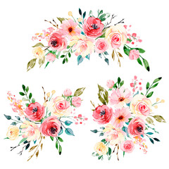 Watercolor flowers set, bouquets, floral illustration for greeting card, invitation and other printing design. Isolated on white. Hand drawing.