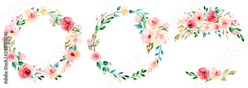 Wreaths with watercolor flowers, floral set for greeting card, invitation and other printing design. Isolated on white. Hand drawing.