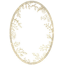 Watercolor Frame With Gold Fo...