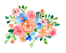 Pretty Flower Arrangement Watercolor Background