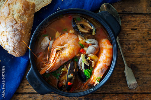 Photo  Spicy seafood soup