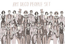 Vector Art Deco People Set. Ga...