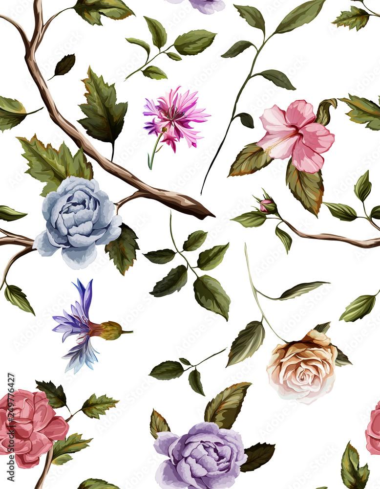 Seamless pattern of carnation flowers, roses, peony, leaves, cornflowers
