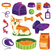 Pet Shop Icons Set. Dog Goods Vector Cartoon Illustration. Animal Food, Toys, Care And Other Stuff