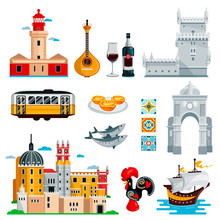 Travel To Portugal Icons And Isolated Design Elements Set. Vector Portuguese And Lisbon Culture Symbols, Food, Landmarks