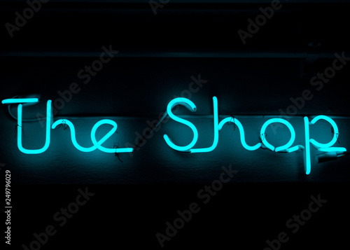 The Shop Blue Neon Sign