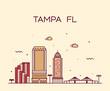 Tampa skyline Hillsborough Florida USA city vector