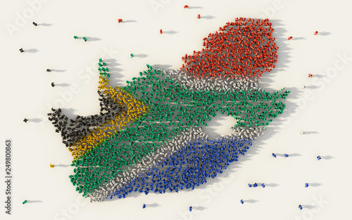 Fototapeta Large group of people forming South Africa map and national flag in social media and communication concept on white background
