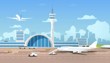 Modern Airport Terminal And Ru...