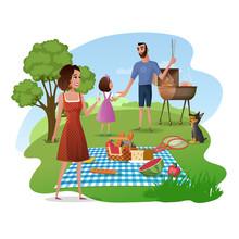 Family Picnic In Park Or Garden Cartoon Vector