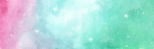 Light Pink, Blue And Green Layout With Cosmic Stars. Watercolor Galaxy Sky Background With Stars. Fantasy Background And Pastel Color.