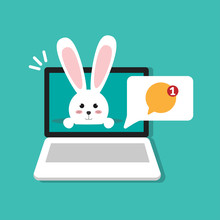 New Notification And Happy Easter Bunny On Laptop, Computer Symbol  Flat Design