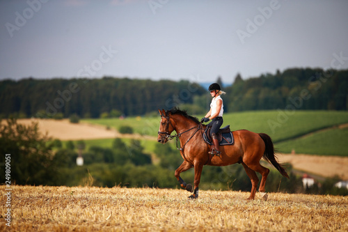 Horsewoman with horse galloping on a stubble field in summer photographed from the front from some distance..