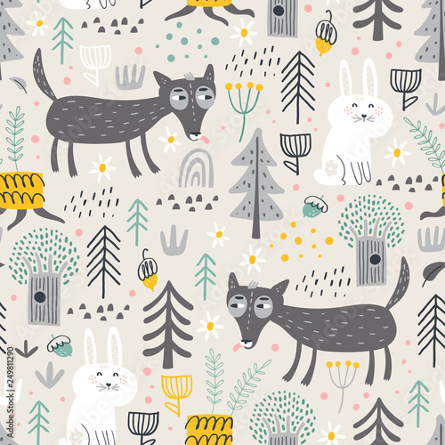 fototapeta na lodówkę Seamless pattern with cute wolf and white bunny in the forest . Vector background for children. Scandinavian style.