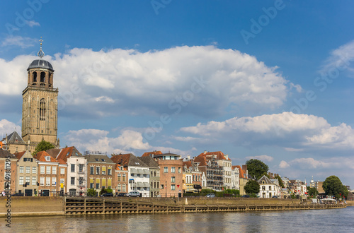 Canvas Prints Ship Historic city Deventer at the IJssel river in The Netherlands