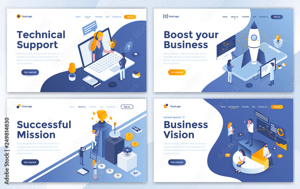 Fototapety, obrazy: Set of Landing page design templates for Technical Support, Boost your Business, Successful Mission and Business Vision. Easy to edit and customize. Modern Vector illustration concepts for websites