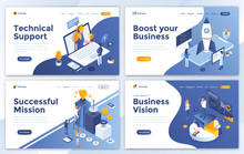 Set Of Landing Page Design Templates For Technical Support, Boost Your Business, Successful Mission And Business Vision. Easy To Edit And Customize. Modern Vector Illustration Concepts For Websites