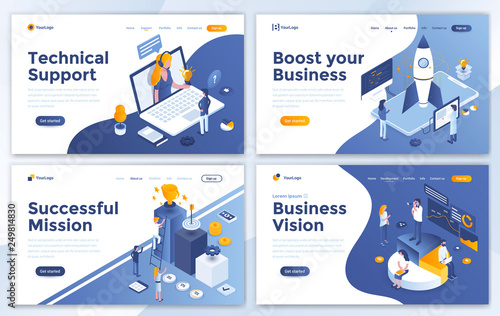 Photo  Set of Landing page design templates for Technical Support, Boost your Business, Successful Mission and Business Vision