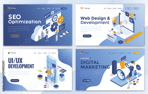Set of Landing page design templates for SEO, Web Design, Ui Development and Digital Marketing Canvas Print