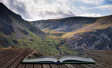 Stunning Detail Landscape Image Of Mountain Of Tryfan Near Llyn Ogwen In Snowdonia During Early Autumn Coming Out Of Pages Of Open Story Book
