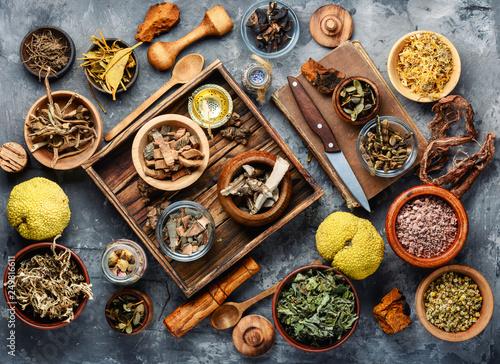 Natural herbal medicine Wallpaper Mural