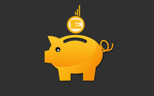 Saving With Pound Sign Coin To Piggy Bank