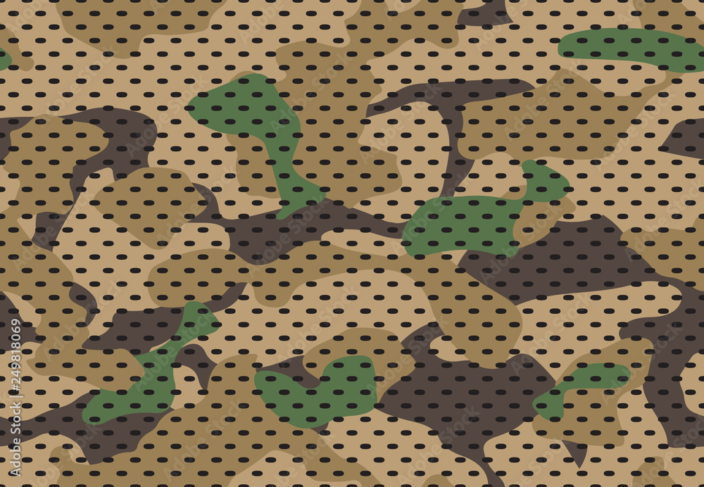 Fototapeta Army camouflage pattern. Military camouflaged fabric texture print, camo textile and green seamless vector background