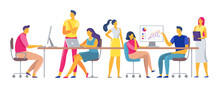 Coworkers Workplace. Team Working Together In Coworking Space, Office Team Workers And Business Colleagues Vector Illustration