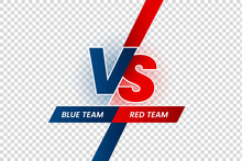 Versus Duel Headline. Battle Red Vs Blue Team Frame, Game Match Competition And Teams Confrontation Isolated Vector Illustration