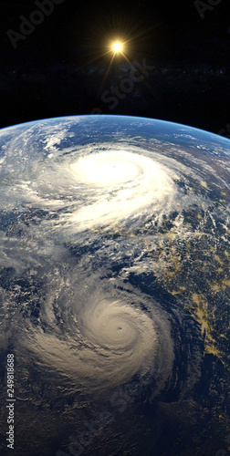 Keuken foto achterwand Nasa Hurricane visible above the earth, satellite view. Elements of this image furnished by NASA.