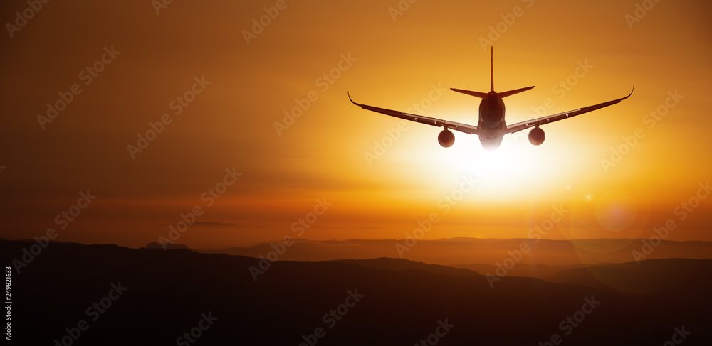 Fototapety, obrazy: modern aircraft against a sunset