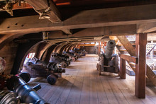 On The Gun Deck Of An Old Pirate Ship Moored In The Port Of Genoa, Italy
