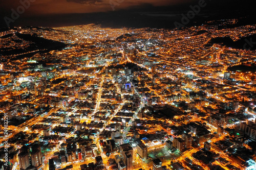 Poster South America Country Nocturnal Quito City