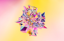 3d Render. Abstract Geometric Crystal Background, Iridescent Texture, Faceted Gem.
